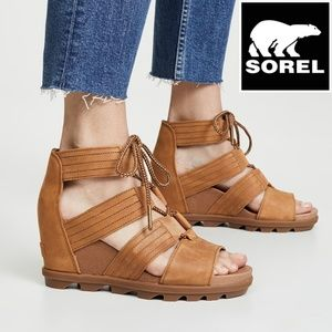 🆕Sorel Joanie Lace Up Strap Platform Wedge Sandal